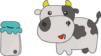 Motif de broderie machine vache et son pot de lait. Dimensions : 10 x 10 cm / 13 x 18 . Formats des fichiers dans votre téléchargement PES,CSD,EXP,HUS,SHV,VIP,XXX,DST,PCS,VP3,EMB,JEF… Téléchargement immédiat après votre paiement et aussi disponible dans votre compte. Après avoir téléchargé le dossier vous devez le dézipper pour récupérer le fichier compatible avec votre machine. N'hésitez pas à nous demander le format de fichier de broderie compatible avec votre machine si il ne figure pas dans la liste ci dessus. Merci.