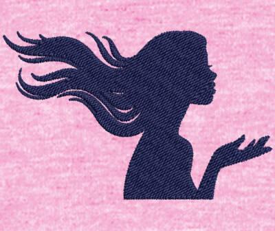Motif de broderie machine Silhouette femme cheveux au vent. Dimensions:  10 x 10 cm . Formats des fichiers dans votre téléchargement PES,CSD,EXP,HUS,SHV,VIP,XXX,DST,PCS,VP3,EMB,JEF… Téléchargement immédiat après votre paiement et aussi disponible dans votre compte. Après avoir téléchargé le dossier vous devez le dézipper pour récupérer le fichier compatible avec votre machine. N'hésitez pas à nous demander le format de fichier de broderie compatible avec votre machine si il ne figure pas dans la liste ci dessus. Merci.